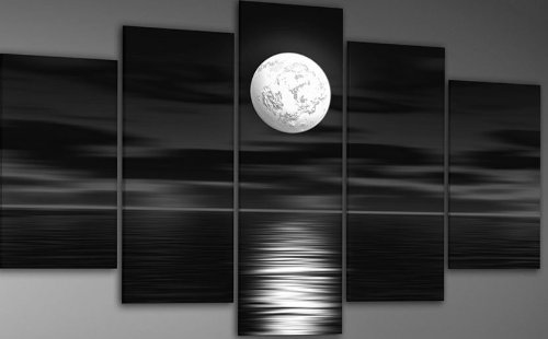 100% Hand-painted Free Shipping Wood Framed on the Back Oil Wall Art Sea White Full Moon Night Home Decoration Abstract Landscape Oil Painting on Canvas 5pcs/set Mixorde
