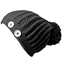 Luxury Divas Black Giant Pom-Pom Knit Beanie Cap Hat With Button Trim