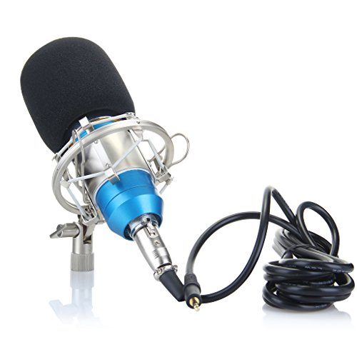 Floureon BM-800 Condenser Sound Studio Recording Broadcasting Microphone + Shock Mount Holder Blue - 5