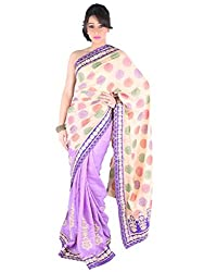Suchi Fashion Beige and Purple Embroidery and Print Cotton Linen Saree