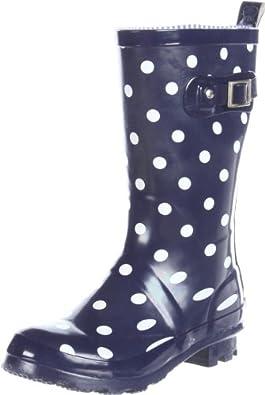 Tommy Hilfiger Kids Polka Dot Rain Boot (Infant/toddler/Little Kid/Big Kid),Medieval Blue,5 M US Big Kid