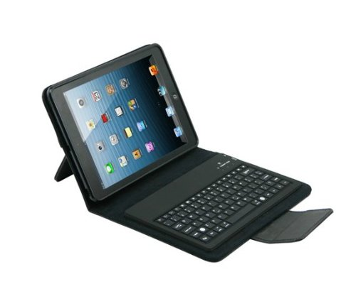 Best Deals! Leather Housing Carry Case Cover with Removable Bluetooth Keyboard for Ipad Mini (Black)
