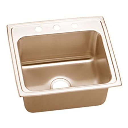 Elkao|#Elkay LR20220-CU Elkay 18 Gauge Cuverro Antimicrobial copper 19.5 Inch x 22 Inch x 7.625 Inch single Bowl Top Mount Sink,