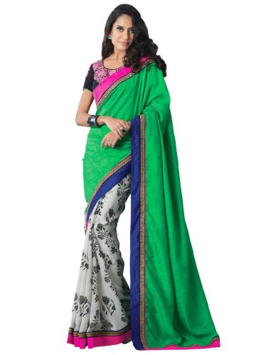 Hiba Synthetic Double The Fun Off White Saree (multicolor)