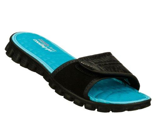 Skechers Ez Flex Cool Keep Cool Womens Slides Sandals Black 7