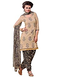 Inddus Women Beige Colored Embroidered Dress material