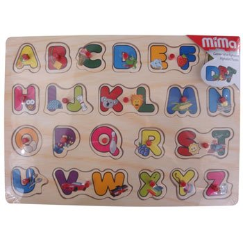 Mima Wood Puzzle - ALPHABET (French version with pegs)