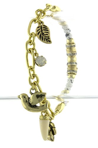 TIFFANY & ZARA MULTI BIRD CHARM BRACELET (White) at Amazon.com