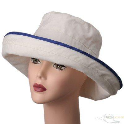 Ladies Canvas Wide Brim Hat / Natural Royal - Buy Ladies Canvas Wide Brim Hat / Natural Royal - Purchase Ladies Canvas Wide Brim Hat / Natural Royal (E4hats, E4hats Hats, Womens E4hats Hats, Apparel, Departments, Accessories, Women's Accessories, Hats)