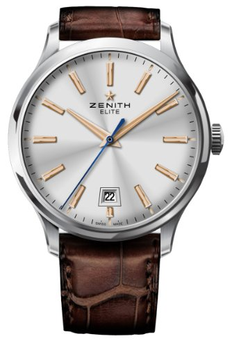 Zenith Men's 03.2020.670/01.c498 Elite Captain Central Second Silver Sunray Dial Watch