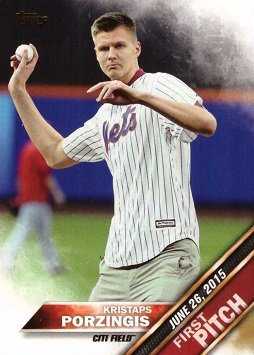 2016 Topps First Pitch #FP-8 Kristaps Porzingis Baseball Card - Knicks Basketball Player - New York Mets