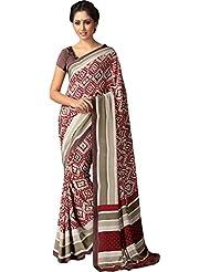 AG Lifestyle Women's Silk Saree(SD119, Beige & Maroon)