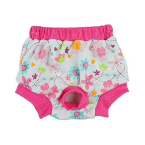 Fitwarm Washable Pink Floral Female Pet Dog Diaper Sanitary Pants Season Heat Nappies Clothes Apparel, Medium