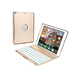 Cooper Cases(TM) NoteKee F8S Clamshell Keyboard Case for Apple iPad Air 2 in Gold (Built-in QWERTY Keyboard, Backlighting in 7 Colors, Sleek & Lightweight MacBook Air-Like Design, Bluetooth 3.0 Connection)