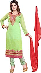Cool women's Georgette Embroderied Unstitched Dress Material -1027_Green_Freesize
