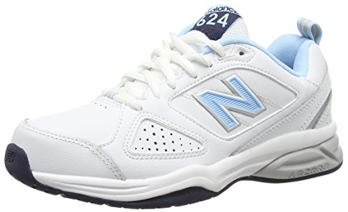 New Balance Wx624Wb4 - entrenamiento/correr de cuero mujer, Blanco - blanco (White/Blue), 41.5 EU (8 UK)