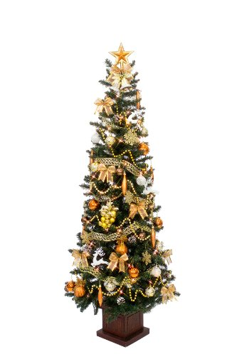 クリスマス屋 クリスマスツリー セット 180cm コパーゴールド スリム セットツリー 木製ポット