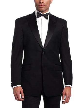 Tommy Hilfiger Men's 2 Button Side Vent Trim Fit Tuxedo Jacket With Peak Lapel, Black, Small/36