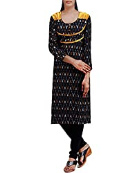 Unnati Silks Women Pracheen kala black Pochampally cotton kurti