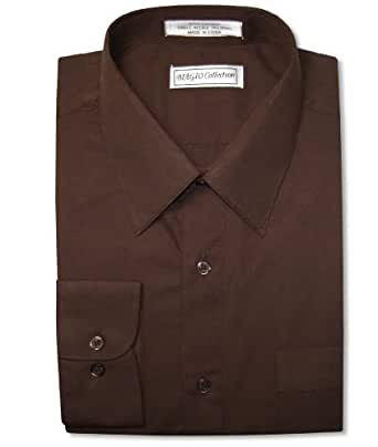 Biagio men 39 s 100 cotton solid chocolate brown dress shirt for Mens chocolate brown shirt
