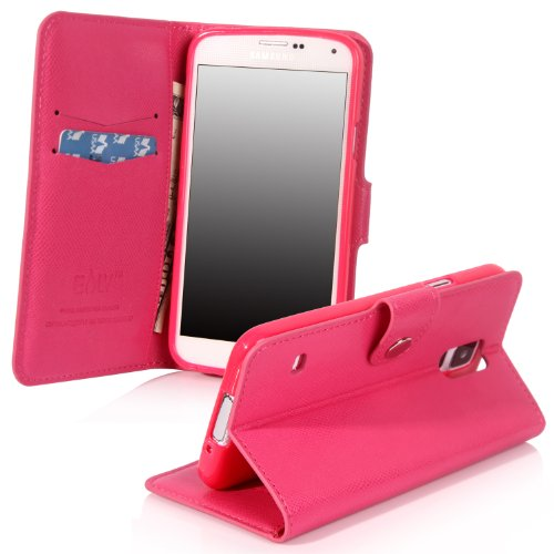 Galaxy S5 Case, Galaxy S5 Flip Case - E Lv Deluxe Pu Leather Folio Wallet Case Cover For Samsung Galaxy S5 / Galaxy Sv / Galaxy S V (At&T, T-Mobile, Sprint, Verizon) - Hot Pink