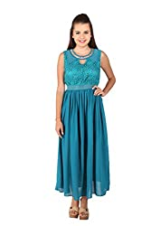 Vteens Emerald Green Dress with a Studded neck trim (Large)