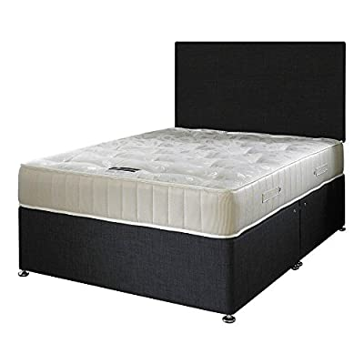 Happy Beds Ortho Royale Orthopaedic Bonnell Spring Mattress with Fabric Divan Base/Various Drawer Options/Plain Headboard