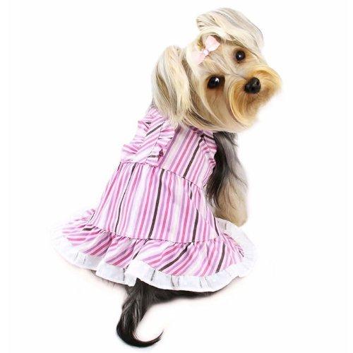 Artikelbild: Elegante Smart Streifen Picknick Hund Kleid Größe: XS (15,2cm-20,3cm L)
