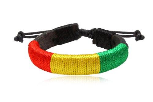 Fashion Multicolor Leather Wrap Cuff Rasta Bracelet Bangle Men's Jewelry