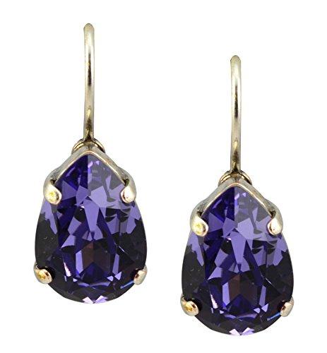 Mariana Silver Plated Raindrop Swarovski Crystal Drop Earrings In Tanzanite