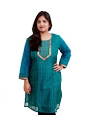 Viniyog Women Hand Woven Maheshwari Cotton-Silk Hand Block Printed Green Kurti