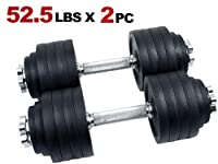 New MTN Gearsmith Heavy Duty Adjustable Cast Iron Chrome Weight Dumbbell Set Dumbbells 52.5 100 105 200 lbs (Black-Painted, 105 LB)