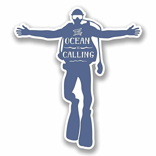NI384 **2-Pack** Scuba Ocean is Calling Sticker/Decal | Premium Quality Vinyl Sticker | 4-Inches by 3.5-Inches (Scuba Decal compare prices)