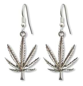 marijuana pot leaf earrings silver pewter