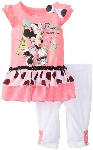 Disney Baby-Girls Minnie Infant Girl Legging Set, Pink, 12 Months