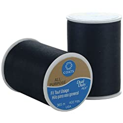 Coats & Clark Dual Duty All-Purpose Thread, 400 Yards/1 Spool of Yarn, Black