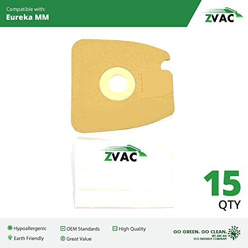 15 Eureka Style MM Micro-lined Mighty Mite & Sanitaire Allergen Filtration Vacuum Cleaner Bags; Similar to Eureka Part # 60297A , 60295, 60296, 60297, 60295B; By ZVac (15 Eureka Rr Bags compare prices)