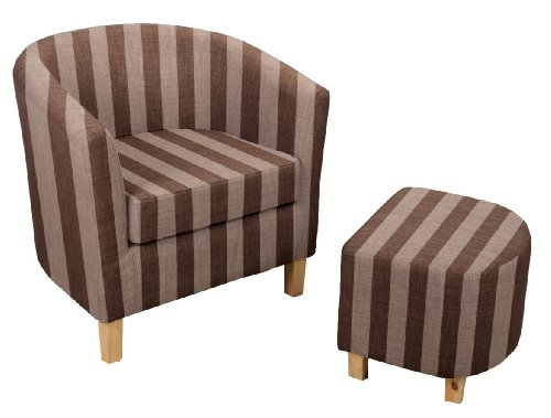 Shankar Stripe Tub Chair Set with Footstool, Brown/ Taupe