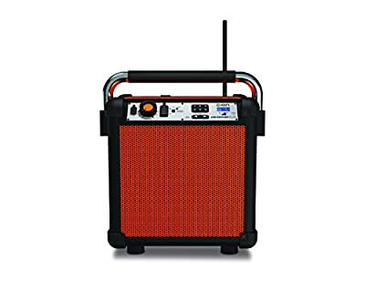 ON Audio Job Rocker Plus Portable Heavy-Duty Jobsite Bluetooth Speaker System with AM/FM Radio + Mic Input Orange (Certified Refurbished) by Ion Audio - MI