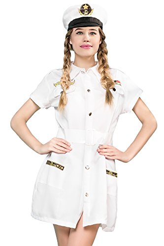 [Women's Sailor Cutie Captain Sea Skipper Dress Up & Role Play Halloween Costume (One Size - Fits] (Ship Captain Costumes)