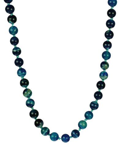 Blue Agate Bead Necklace with Sterling Silver Clasp 36