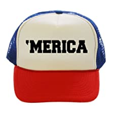 America 'Merica USA Red White Blue Trucker Hat Cap