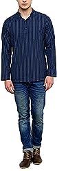 EVEN Men's Cotton Regular Fit Kurta(SSK MMS367 NV01, Navy Blue, L)