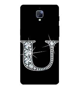 Alphabet U 3D Hard Polycarbonate Designer Back Case Cover for OnePlus 3 :: OnePlus Three