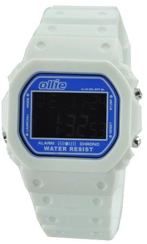 Mens White Plastic Digital Sport Watch by Ollie OLK80003-L