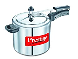 Prestige Nakshatra Plus Flat Induction Base Aluminum Pressure Cooker, 5 Liter, Silver