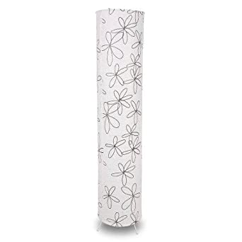 White Paper Floor Lamp With Black Flowers