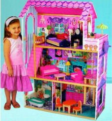 Kidkraft Wooden Dollhouse with Furniture and Working Elevator