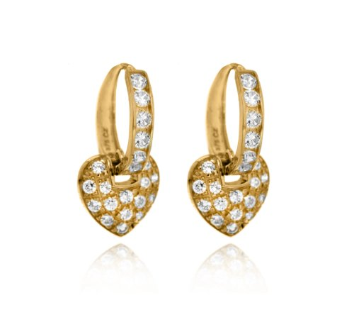 9 Carat Yellow Gold and Cubic Zirconia Drop Heart Hoop Earrings