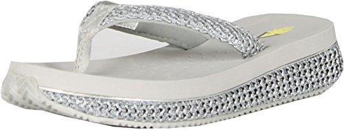 Volatile Womens Palau Wedge Flip Flop Sandals,Gray,7 front-721449